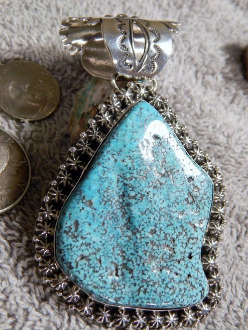New Kingman Turquoise Black Web  Sterling Silver Pendant Navajo Russell Sam