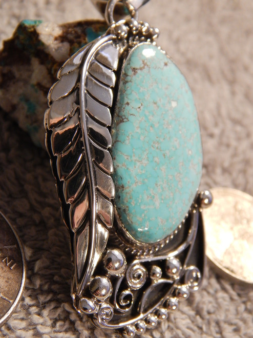 Bisbee Turquoise Sterling Silver Feather Pendant  Navajo Geraldine James