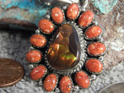 New Sterling Silver Fire Agate Spiny Oyster Pendent Navajo Geraldine James