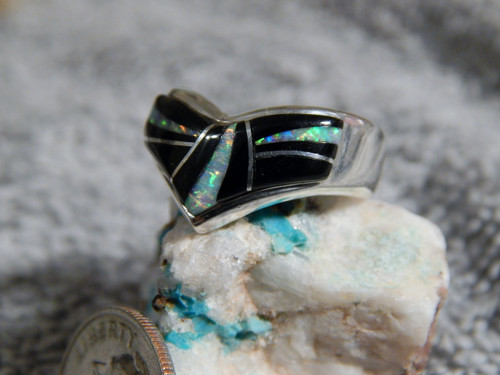 New Sterling Silver Jet Created Opal Ring Navajo By Fred Begay Size 7