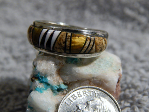 Sterling Silver  Jasper White Buffalo Inlay Ring Navajo Marty Yazzie Size 7 3/4