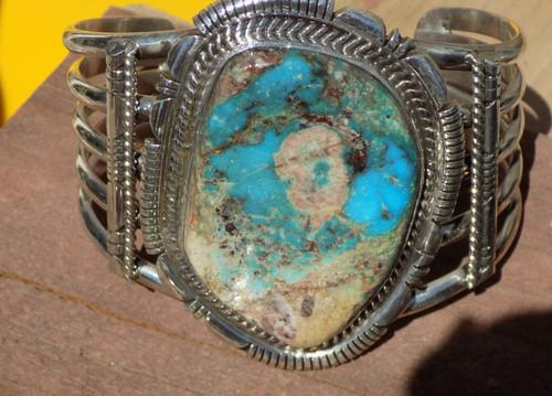 Sterling  Huge smoky Bisbee Turquoise Bracelet  Navajo Russell Sam