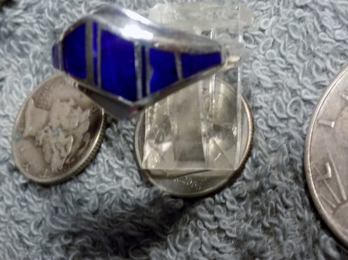 New Sterling Silver unisex Lapis Inlay Ring Zuni AlfredTsosie Size 10 1/2