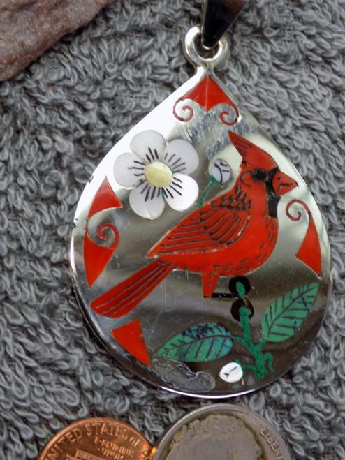 Rudy & Nancy Laconsello Sterling Coral Bird Inlay Art Pendant Zuni Cardinal