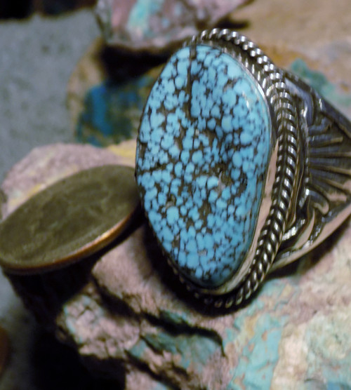 Mens Sterling  Kingman Web Turquoise Longhorn Ring Navajo Russell S Size 13 1/4