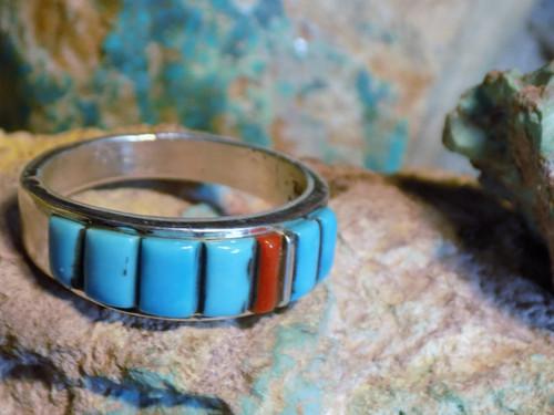 Mens Sterling Lapis Multi stone Inlay Ring  Zuni Alfred Tsosie  Size 13 3/4