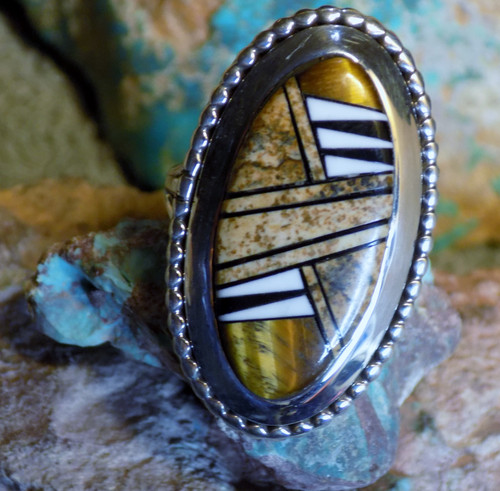 Ladies Sterling Silver Jasper Tiger Eye Inlay Ring Navajo James Lee Size 7 1/4