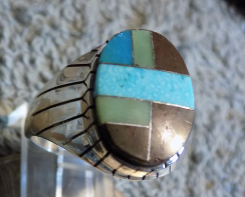 Mens Ring New Sterling Bisbee Blue Turquoise Inlay Size 12 1/4 Navajo Ray Jack