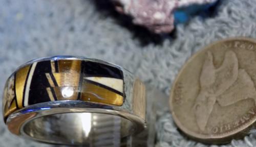 Ladies Sterling Silver Tiger Eye Jasper Inlay Ring  Zuni Alfred Tsosie  Size 6