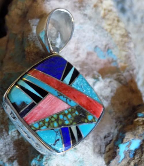 Pendant Sterling Turquoise Spiny Lapis Jet Micro Inlay Navajo Olsen Charleston