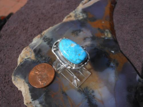 New Sterling Silver & Kingman Natural Spiderweb Gemstone ring    SZ  8 1/3    D451