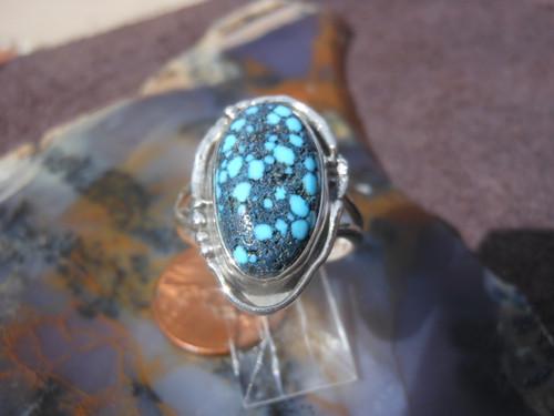 New Sterling Silver & Kingman Natural Turquoise Gemstone ring Kingman  sz  8 3/4   D453