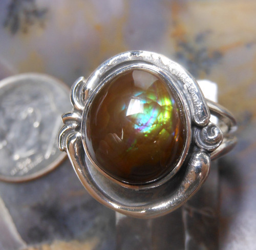 New Sterling Silver and Fire Agate Gem ring  size  6 3/4      D132