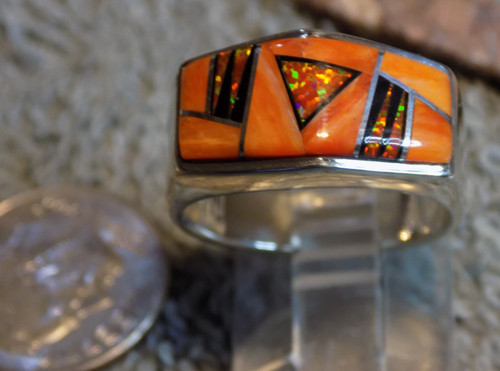 Sterling Created Opal Spiny Inlay unisex Ring Navajo Marty Yazzie Size 7 3/4