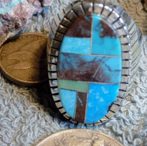 New Mens Size  14 1/2 Sterling Bisbee Blue Turquoise Inlay Ring Navajo Ray Jack