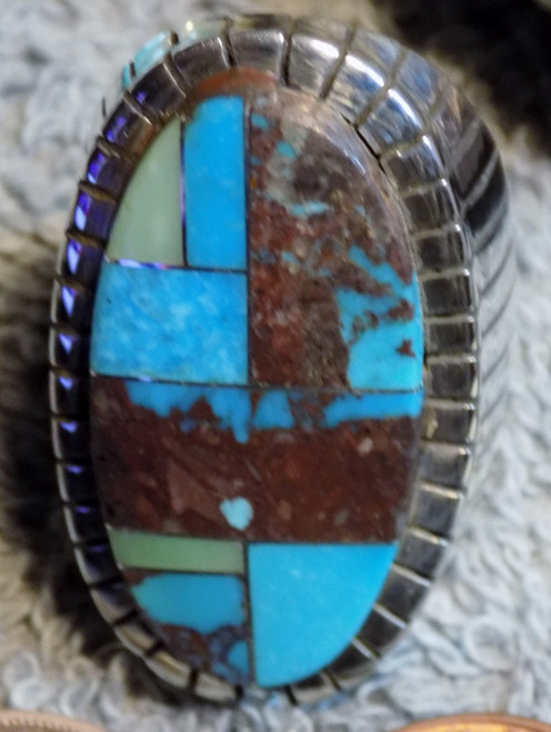 New Mens Size  9 1/4 Sterling Bisbee Blue Turquoise Inlay Ring Navajo Ray Jack