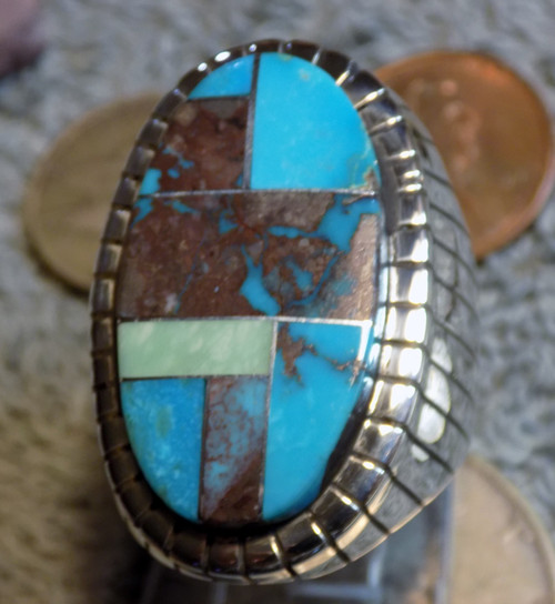 Size 11 New Mens  Sterling Bisbee Blue Turquoise Inlay Ring Navajo Ray Jack