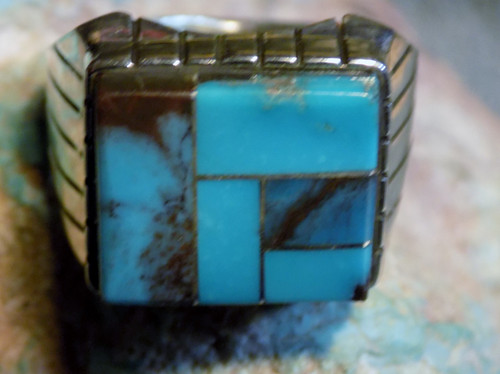 New Mens Ring Size 8 3/4 Sterling Bisbee Blue Turquoise Inlay Navajo Ray Jack