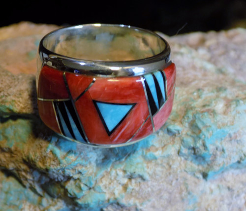 Mens Sterling Silver Turquoise Spiny  Inlay Ring Navajo Fred Begay Size 11 1/4