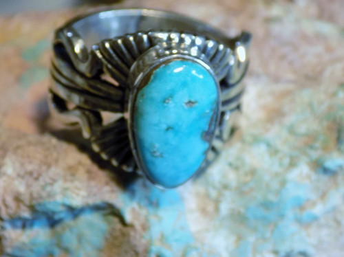 Bisbee Blue Turquoise Sterling Silver Unisex Ring Navajo Russell Sam Size 9 1/4