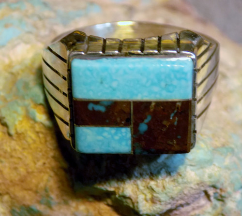 New Bisbee Blue Turquoise Mens Inlay Ring Size 12  Sterling  Navajo Ray Jack