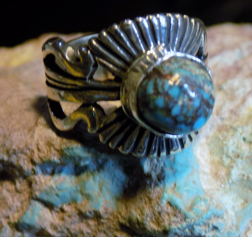 Bisbee Blue Turquoise Sterling Silver Unisex Ring Navajo Russell Sam Size 6 1/2