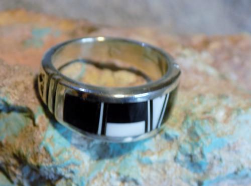 Mens Sterling Silver White Buffalo Jet Inlay Ring Navajo Rick Tolino Size 10
