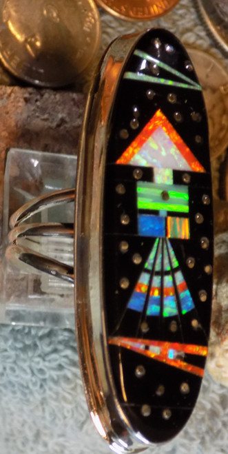 New Ladies Sterling Created Opal Jet Inlay Ring Navajo Gilbert Smith Size 9 1/2