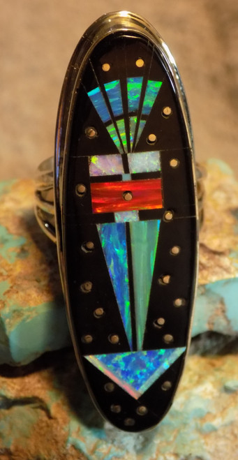 New Ladies Sterling Created Opal Jet Inlay Ring Navajo Gilbert Smith Size 10 1/4