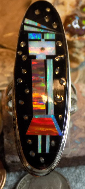 New Ladies Sterling Created Opal Jet Inlay Ring Navajo Gilbert Smith Size 10