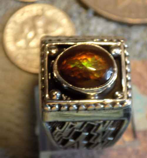 Mens Fire Agate Gem Ring Sterling Silver Navajo Geraldine James Size 10 1/2