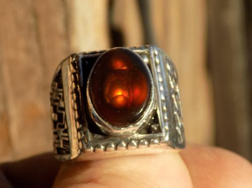 Mens Fire Agate Gem Ring Sterling Silver Navajo Geraldine James Size 8 1/4