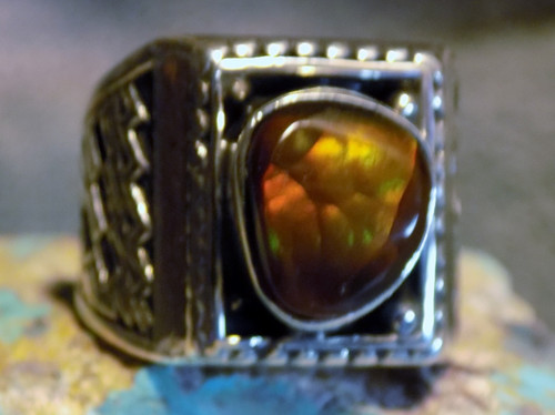 Mens Fire Agate Gem Ring Sterling Silver Navajo Geraldine James Size 9 1/2