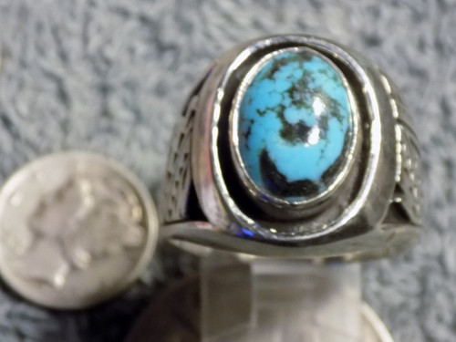 New Sterling Silver Kingman Turquoise Mens Ring Size 12 1/2 Navajo Russell Sam