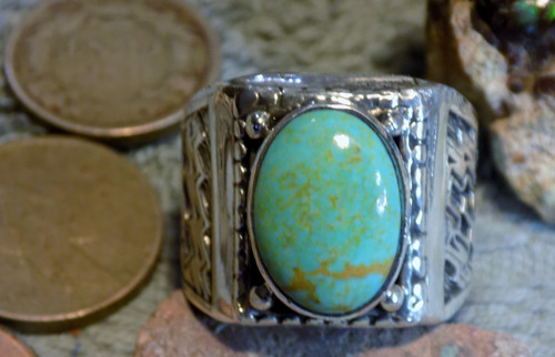New Mens Ring Sterling Silver Kingman Turquoise Navajo L James  Size 10 1/2