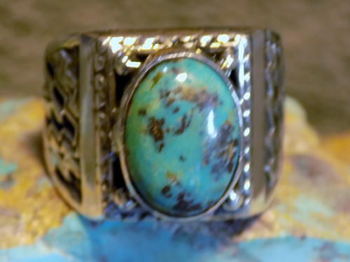 New Mens Ring Sterling Silver Kingman Turquoise Navajo L James  Size 11 1/2