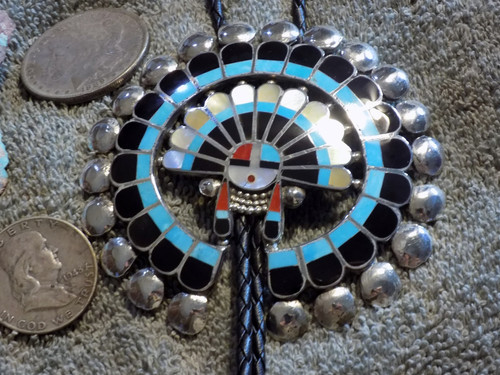 Turquoise Sterling Silver MOP Jet Inlay Sunface Bolo Tie Zuni Delger Cellicion