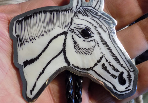 Sterling Mother of Pearl Jet Horse Inlay Art Bolo Tie Zuni Dale Edaakie