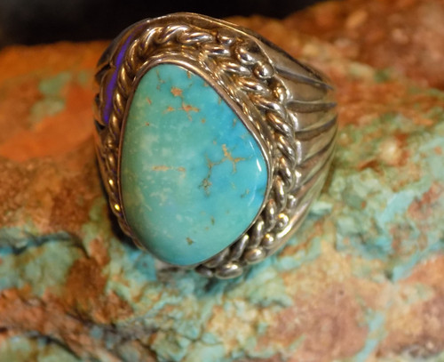 Mens Sterling Silver Morenci Arizona Turquoise Ring Navajo Russell Sam Size 12