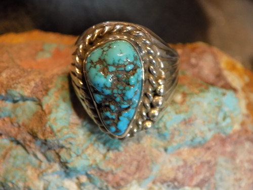 Sterling Silver Morenci Arizona Turquoise Ring Navajo Russell Sam Size 13 3/4