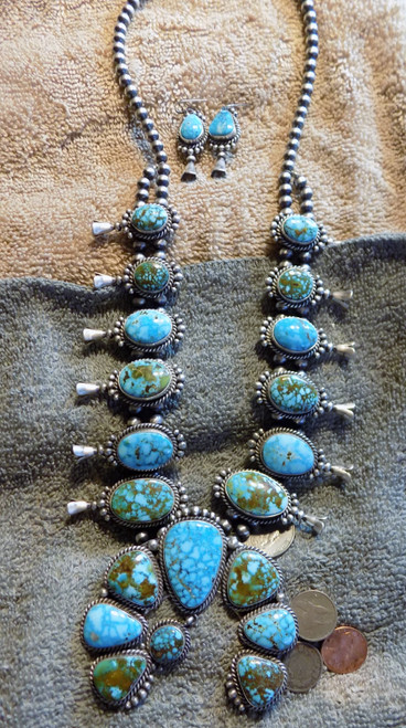 New Sterling Kingman Turquoise Squash Blossom Necklace Navajo Mary Ann Spencer