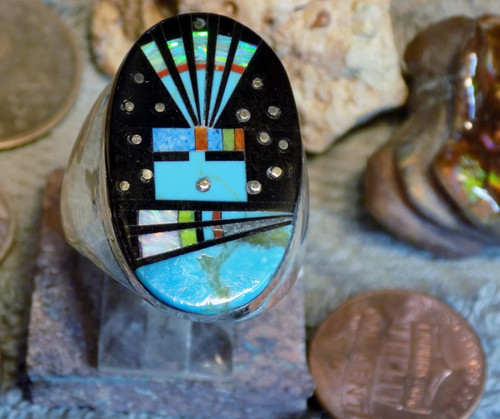New Mens Sterling  Turquoise Jet Inlay Ring  Navajo Gilbert Smith Size 11 3/4