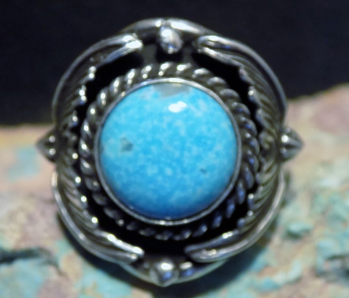 Mens Sterling Silver  Turquoise Ring By Navajo Patrick Yazzie Size 8 New
