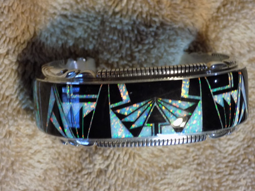 New Sterling Silver Created Opal and Jet Bracelet By Navajo Thomas Francisco