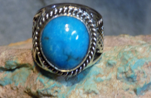 New Sterling Silver Kingman Turquoise Mens Ring Navajo E Richards  Size 8 1/2