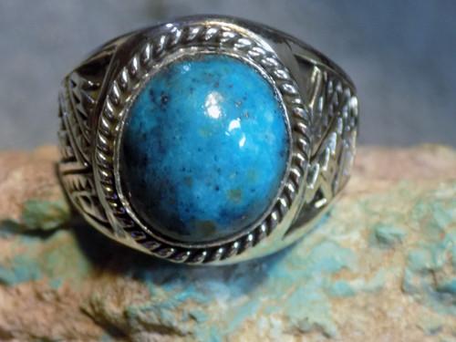 New Sterling Silver Kingman Turquoise Mens Ring Navajo E Richards  Size 15