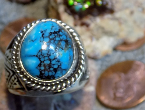 New Sterling Silver Kingman Turquoise Mens Ring Navajo E Richards  Size 10 1/4