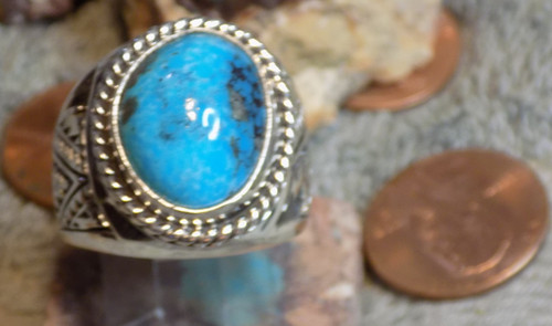 Sterling Silver Kingman Turquoise Mens Ring Navajo E Richards  Size 10 1/2 New