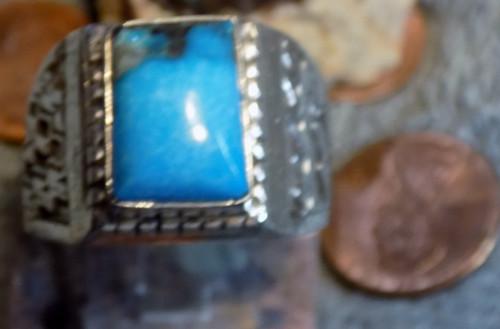 New Mens Sterling Silver Kingman Turquoise Ring Navajo Lorenzo James  Size 15