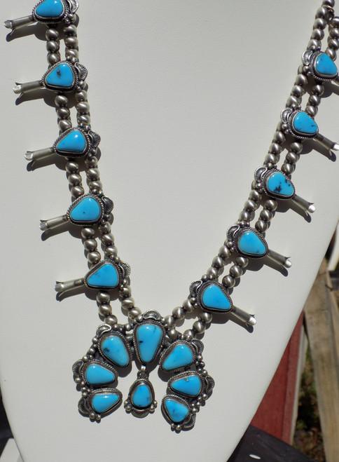 New Sterling Kingman Turquoise Squash Blossom Necklace Navajo Thomas Francisco